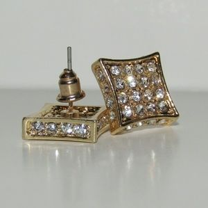 Mens Gold Square Earrings